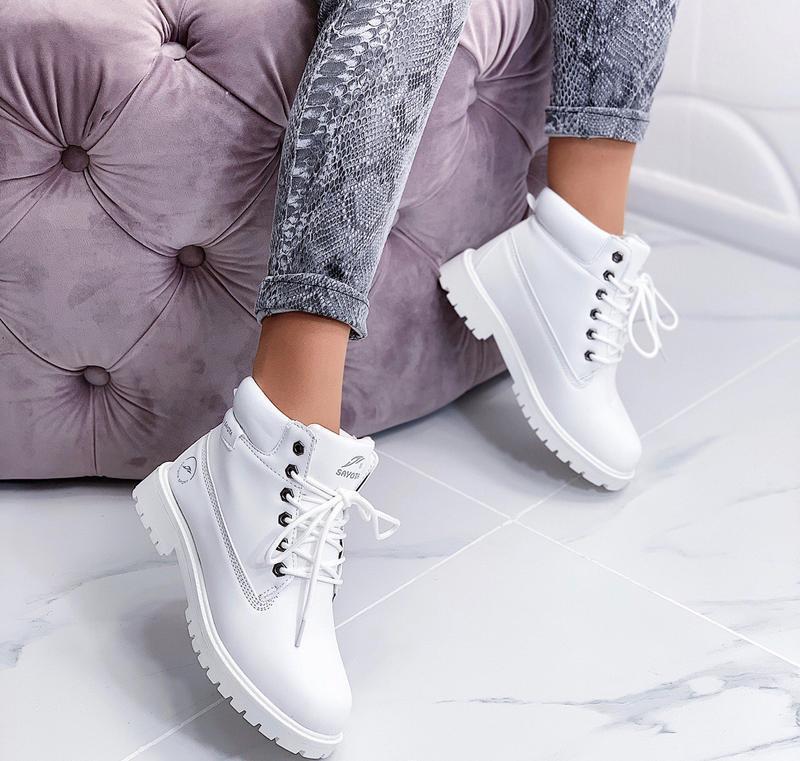 Новые шикарные женские зимние белые ботинки - Фото 3