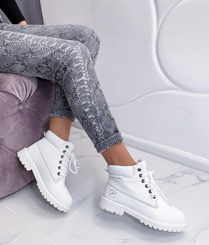 Новые шикарные женские зимние белые ботинки - Фото 4