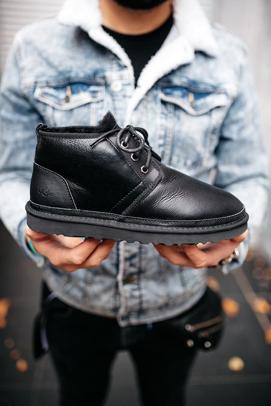 """🛡️ugg neumel """"leather black""""🛡️угги мужские, кожаные чёрные уги..."""