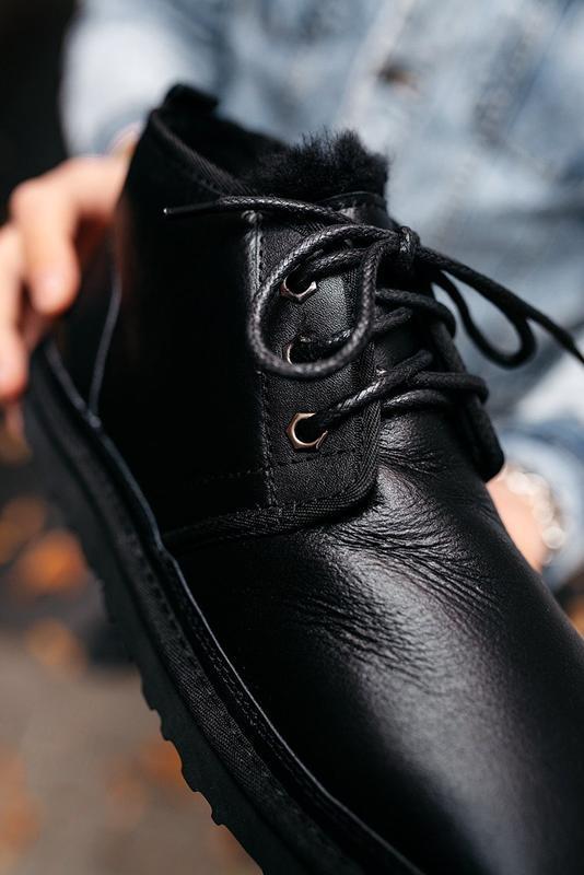 """🛡️ugg neumel """"leather black""""🛡️угги мужские, кожаные чёрные уги... - Фото 4"""