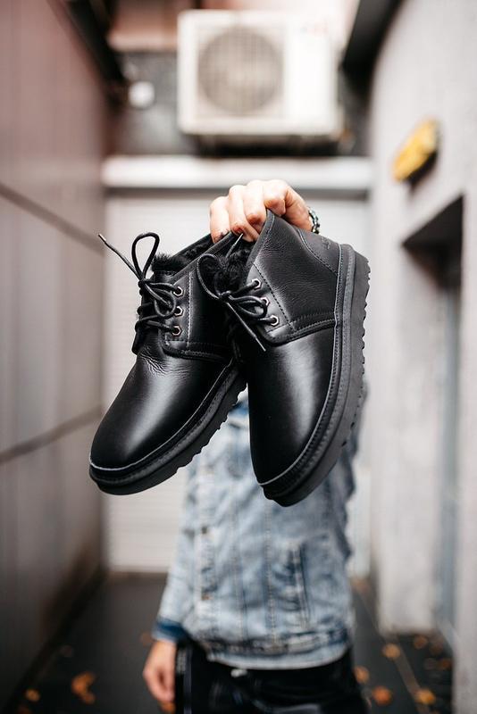 """🛡️ugg neumel """"leather black""""🛡️угги мужские, кожаные чёрные уги... - Фото 6"""