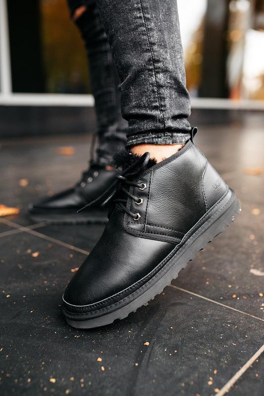 """🛡️ugg neumel """"leather black""""🛡️угги мужские, кожаные чёрные уги... - Фото 8"""