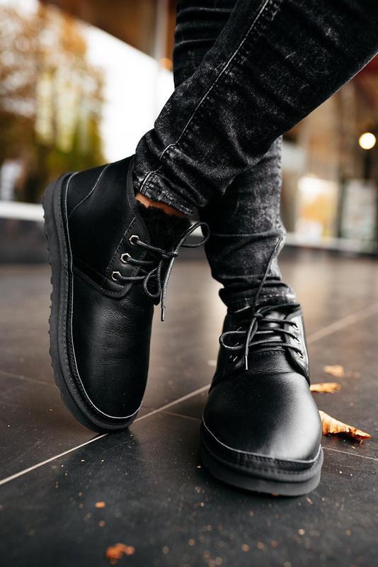 """🛡️ugg neumel """"leather black""""🛡️угги мужские, кожаные чёрные уги... - Фото 9"""