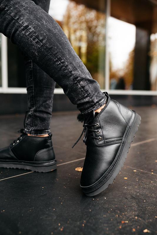 """🛡️ugg neumel """"leather black""""🛡️угги мужские, кожаные чёрные уги... - Фото 10"""