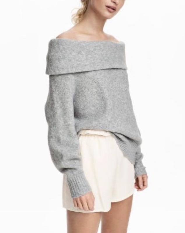 В наличии - тёплый свитер с шерстью на плечи *h&m* р. l