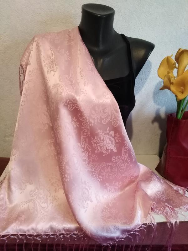 Натуральный фактурный шелк, нежно-розовый, зефирный платок с б...