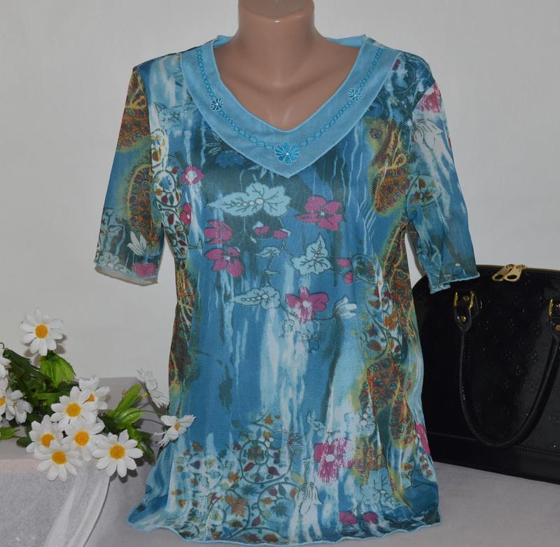 Брендовая блуза с коротким рукавом вышивка принт цветы