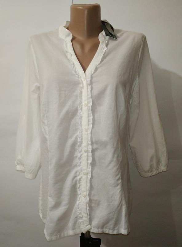 Белая хлопковая новая красивая блуза next uk 14/42/l