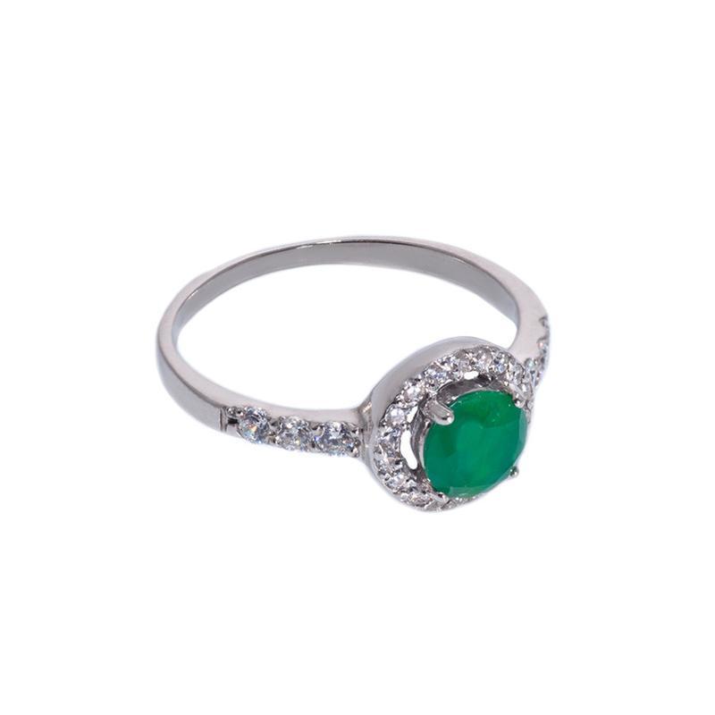 "Серебряное кольцо ""бриллиант"" цвета изумруда"