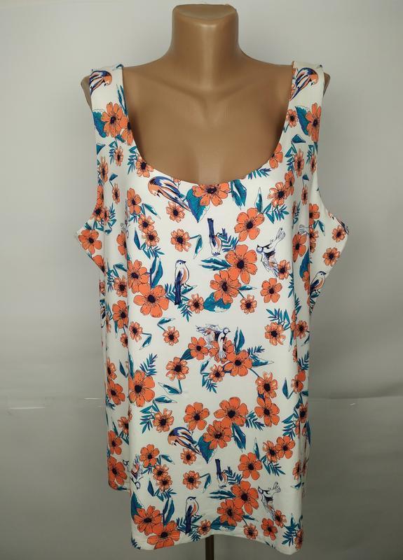 Блуза стильная новая трикотажная в цветы большого размера geor...
