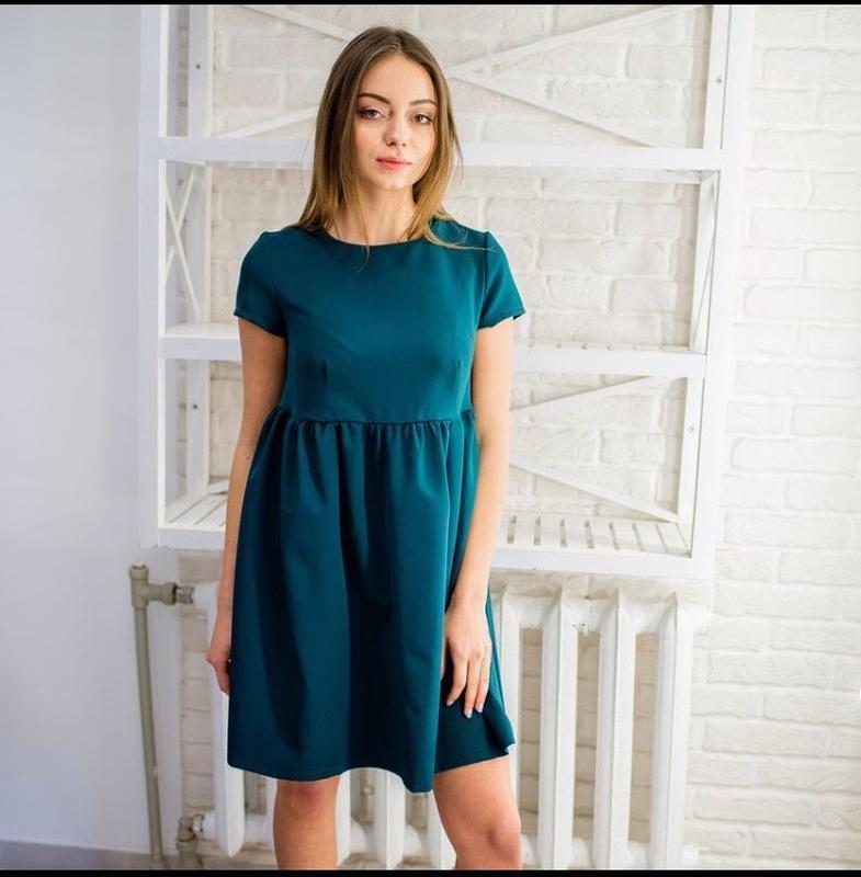Платье зеленое темно бирюзовое