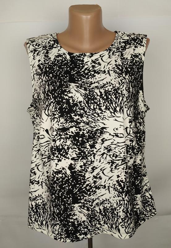 Блуза топ красивая в принт эластичная большого размера uk 18/4...