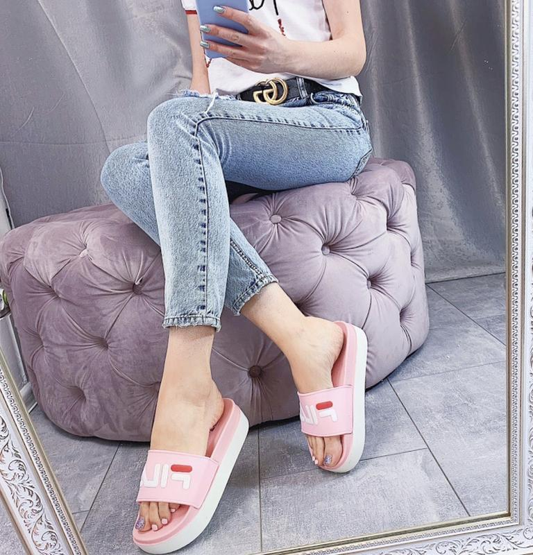 Новые шикарные женские розовые шлепки шлёпанцы