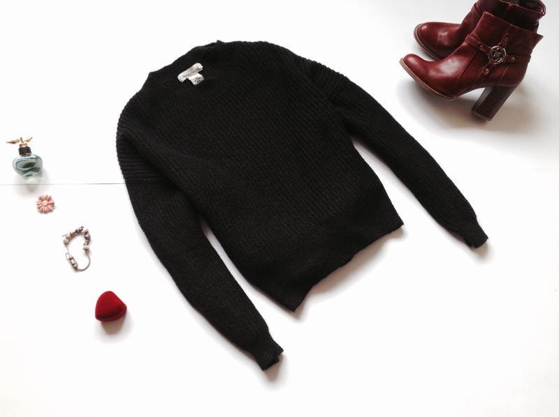 Черный свитер оверсайз h&m