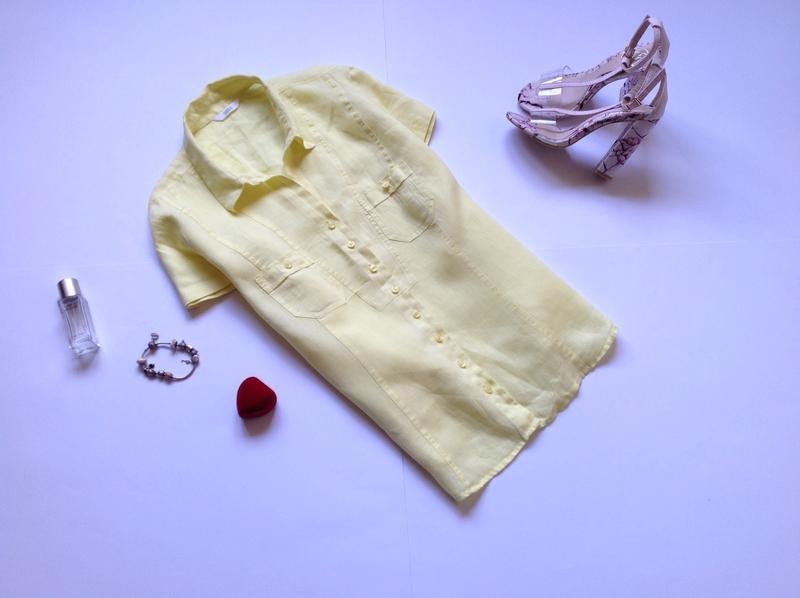 Желтая льняная рубашка marks&spencer большого размера