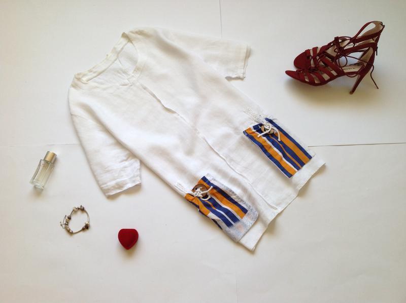 Белая льняная блуза оверсайз