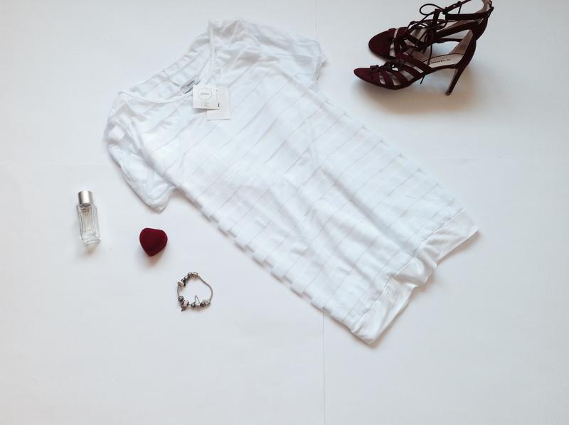 Длинная белая блуза туника футболка короткий рукав большого ра...