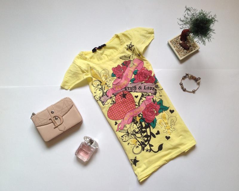 Желтая футболка для девочки 6-7 лет