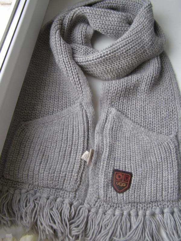 Ugg теплый вязаный шарф 80% шерсть. оригинал