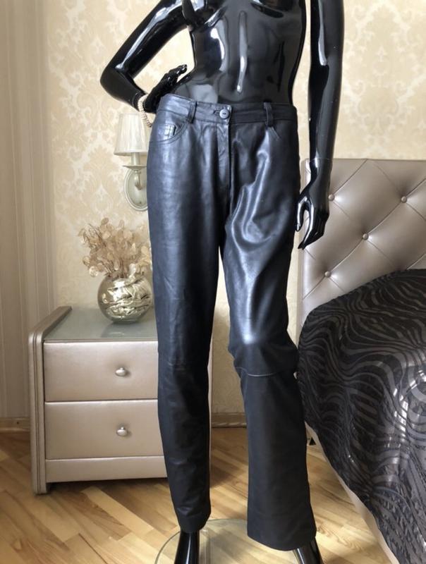 Штаны/брюки кожа, размер 36 или с, чёрные