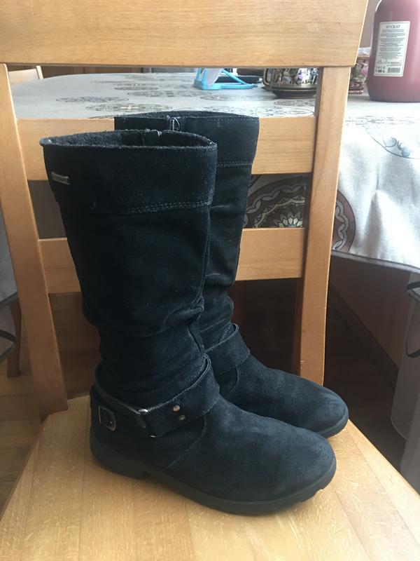 Демисезонные замшевые сапоги ботинки 34 -35 р. 22.5 см.