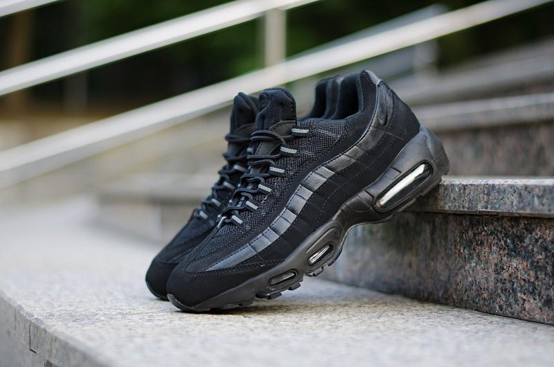 "Nike air max '95 ""triple black"" шикарные мужские кроссовки чёр..."