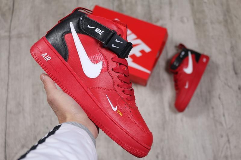 Шикарные мужские кроссовки nike air force high 1 red
