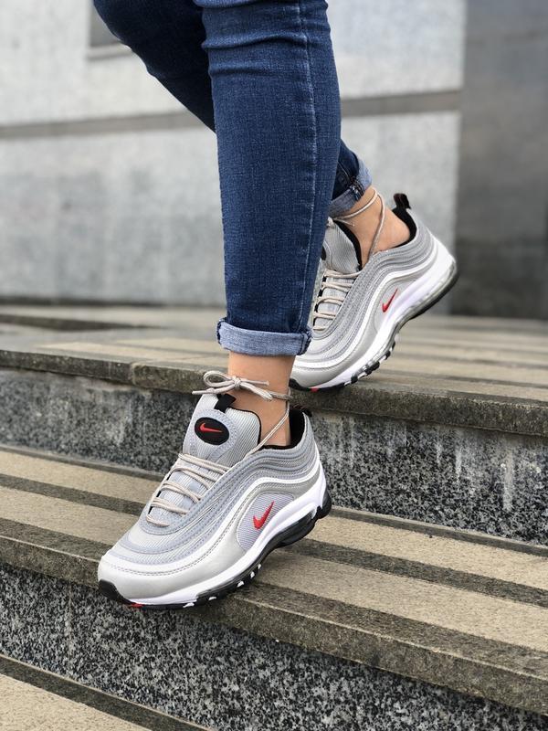 Шикарные женские кроссовки nike air max 97 silver
