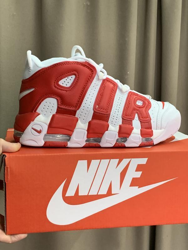 Шикарные женские кроссовки nike air more uptempo white red