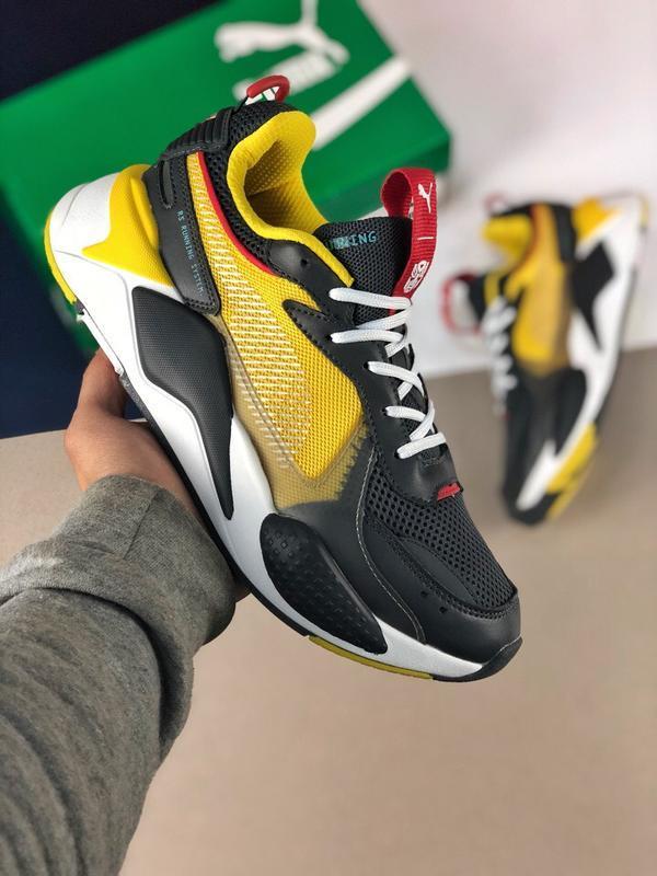 Шикарные женские кроссовки puma rs-x transformer black yellow