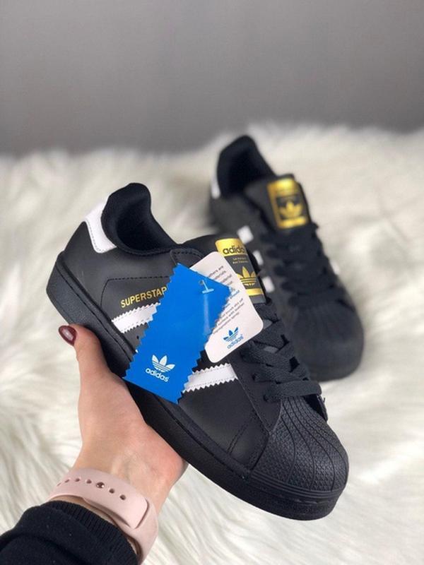 Женские кеды adidas superstar black white gold logo