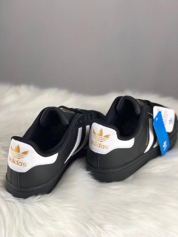 Женские кеды adidas superstar black white gold logo - Фото 3
