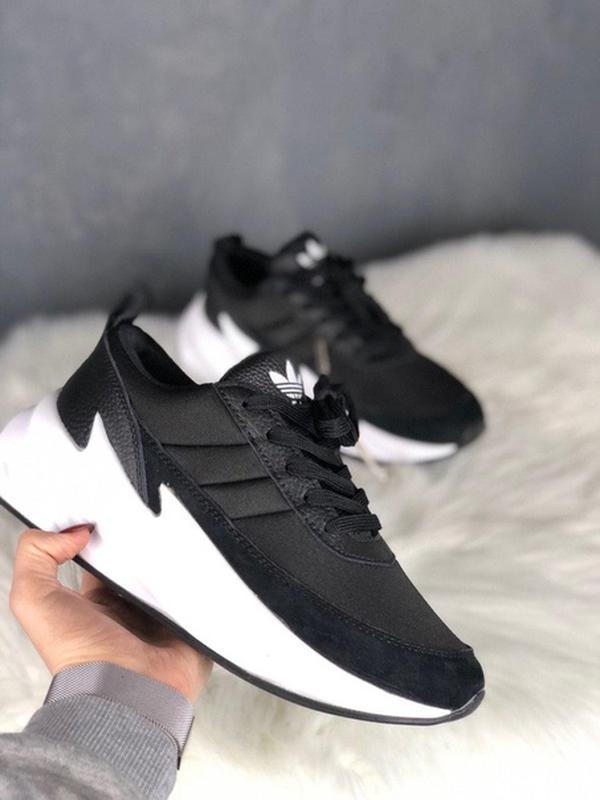 Шикарные женские кроссовки adidas sharks black white