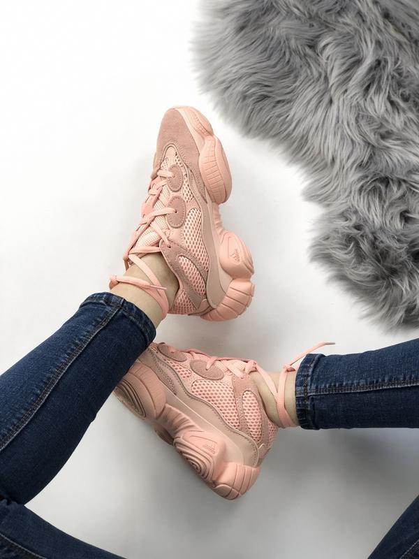 Шикарные женские кроссовки adidas yeezy boost 500 pink