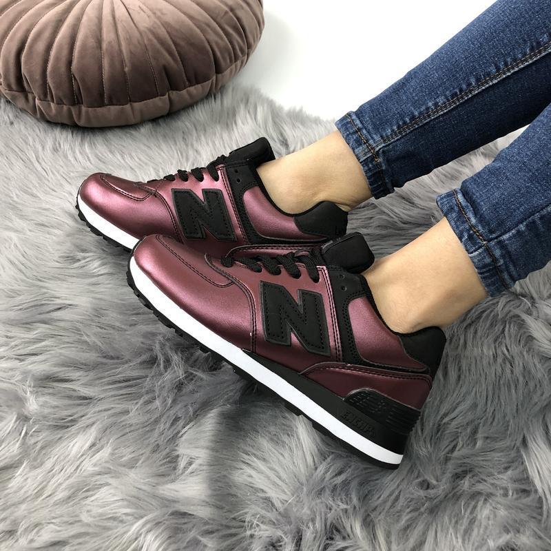 Шикарные женские кроссовки new balance 574 burgundy