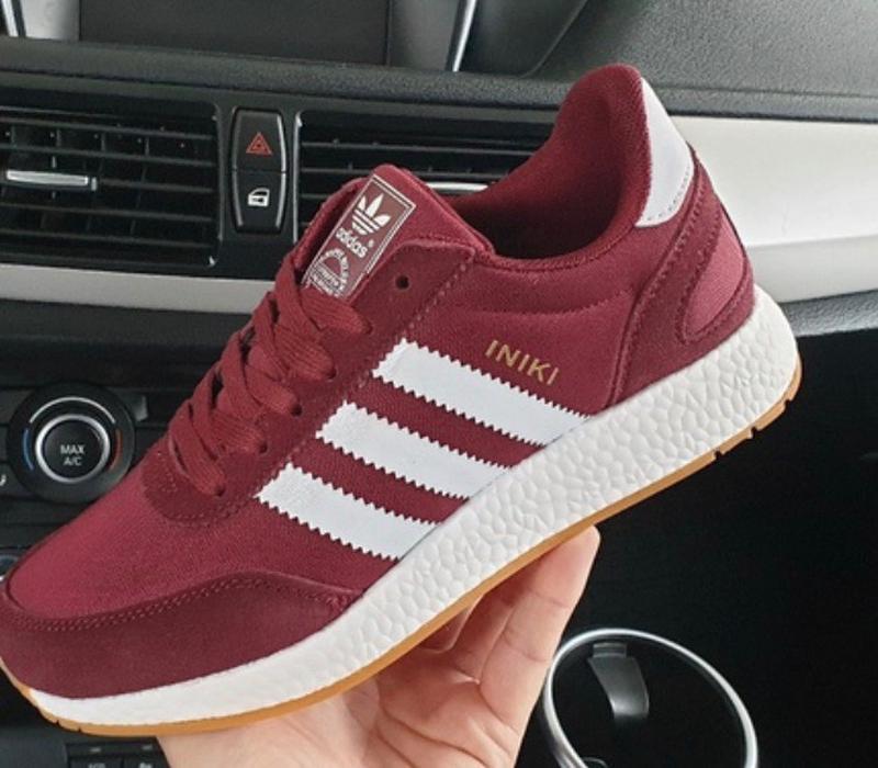 Шикарные женские кроссовки adidas iniki burgundy