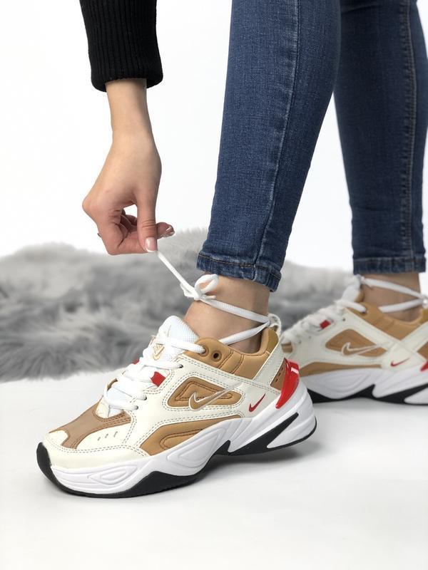 Шикарные женские кроссовки nike m2k tekno white gold