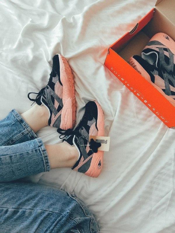 Шикарные женские кроссовки puma trinomic чёрные с розовым