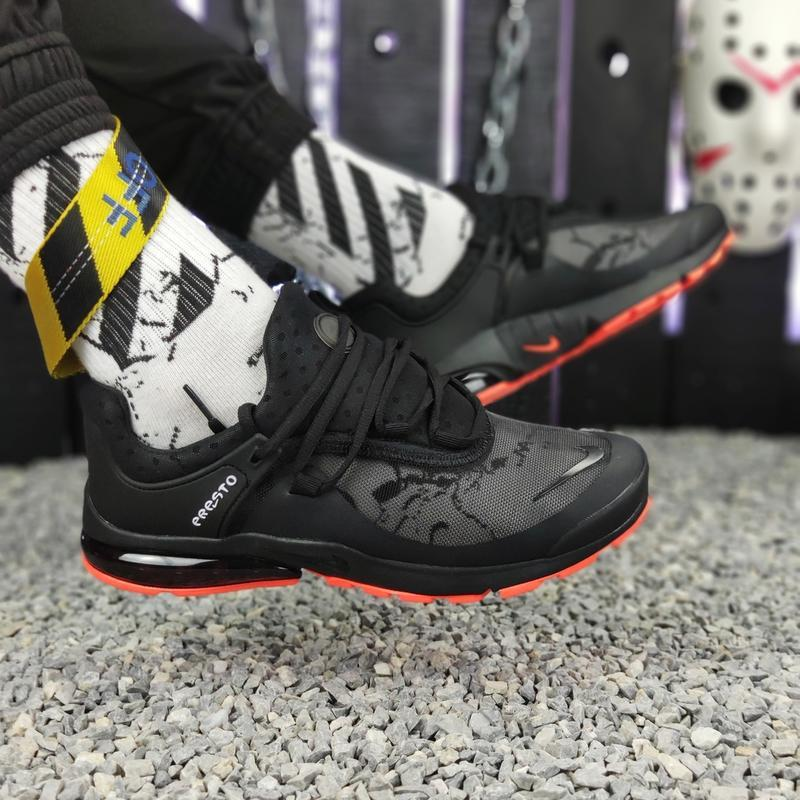 Шикарные мужские кроссовки nike presto black orange