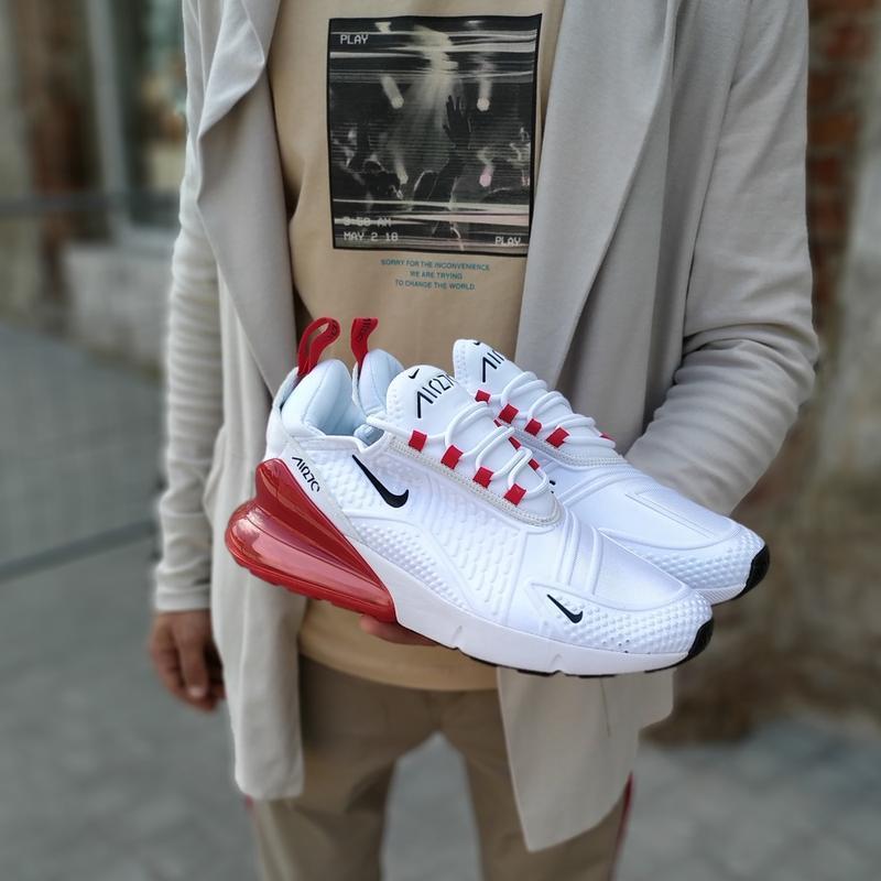 Шикарные мужские кроссовки nike air max 270 white red белые с ...