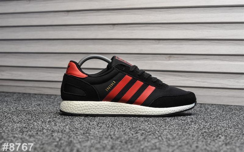 Шикарные мужские кроссовки adidas iniki чёрные с красным