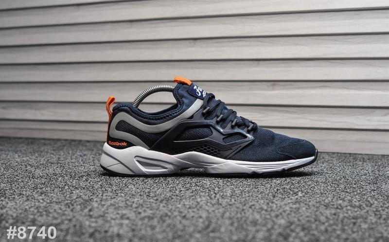 Шикарные мужские кроссовки reebok fury blue синие с оранжевым