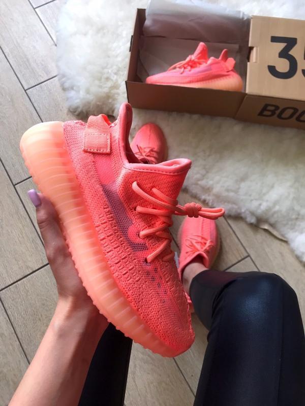Шикарные женские кроссовки adidas yeezy boost 350 коралловые