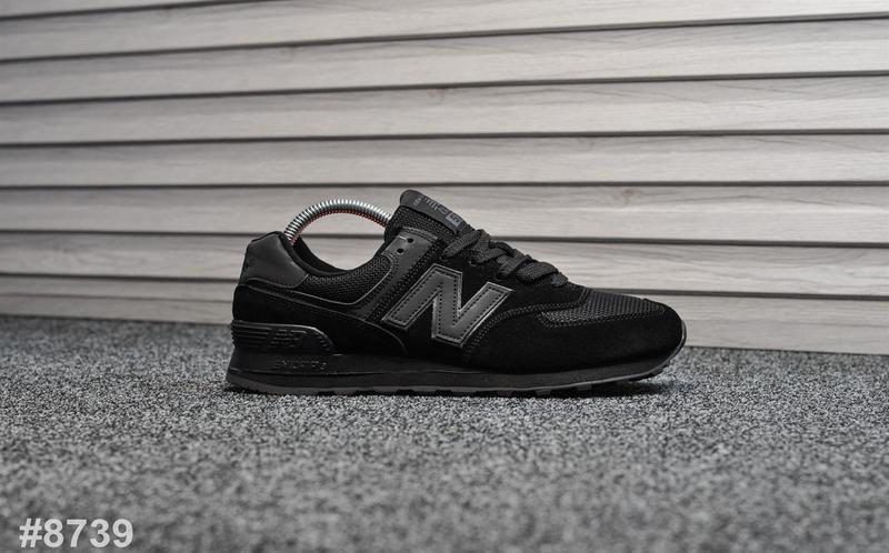 Шикарные мужские кроссовки new balance 574 чёрные