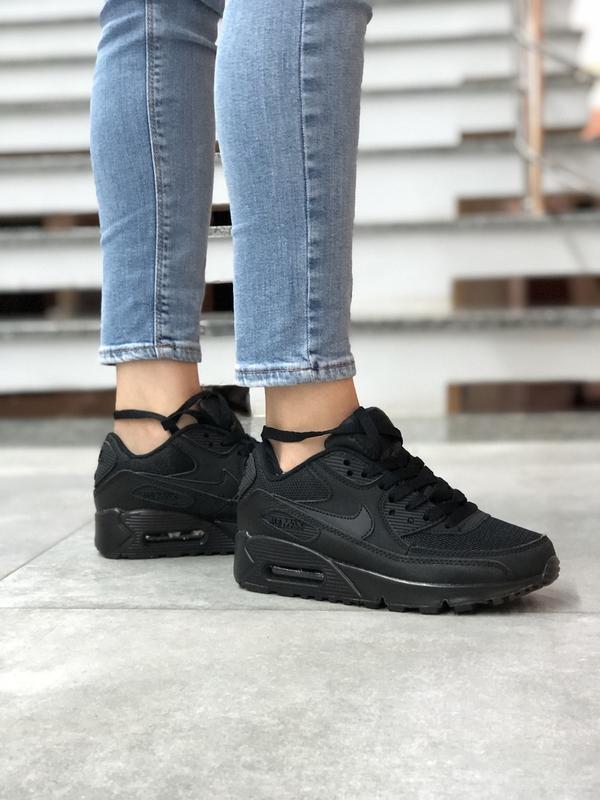 Шикарные женские кроссовки nike air max 90 black чёрные