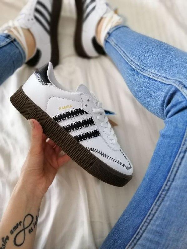 Шикарные женские кроссовки adidas samba white белые