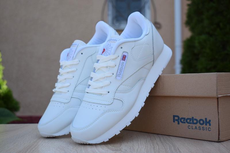 Мужские кроссовки reebok classic белые/серая надпись