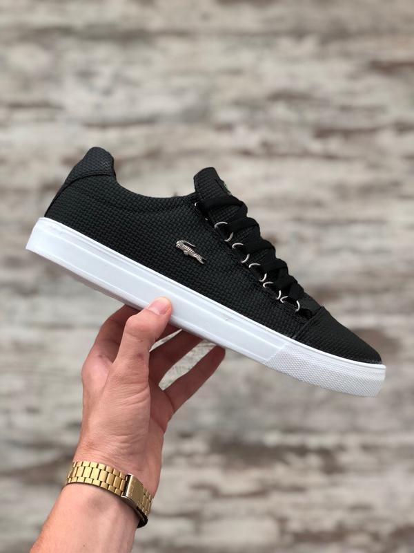 Шикарные мужские кроссовки кеды lacoste чёрные тканевые