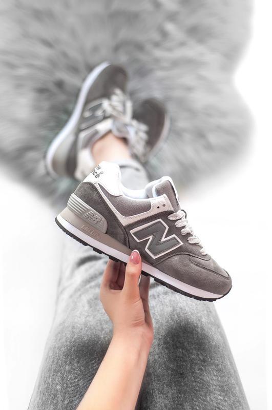 Шикарные женские кроссовки new balance 574 grey серые