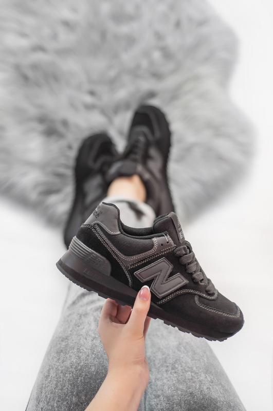 Шикарные женские кроссовки new balance 574 grey чёрный